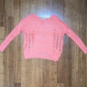 Luca Couture Ripped Coral Sweater
